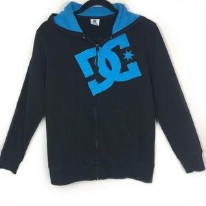 DCSHOECOUSA Black with Blue Hoodie Jacket, Sz L